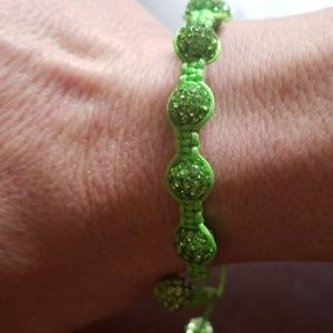 Green beaded Swarovski crystal bracelet